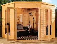 standard and premir 8x8 corner summerhouse small image